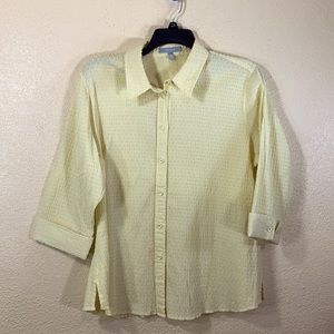 FoxCroft Top Blouse Light Yellow Fitted 20W